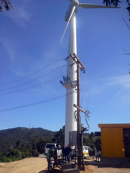A NOJA Power OSM Recloser connecting Wind Generation to the distribution grid in the Philippines © NOJA Power 2021
