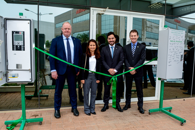 Left to Right – Neil O'Sullivan, Group Managing Director NOJA Power Quynh Anh Le, Group Finance Director NOJA Power Bruno Kimura, Managing Director NOJA Power Brazil Greg Wallis, Consul General for Australia in Brazil
