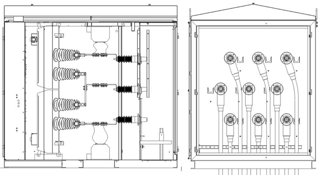 Left: General Arrangement of Internal Medium Voltage Reclosers Right: Cable bay. Incoming feeders top and bottom, central horizontal arrangement of outgoing feeder to critical load.