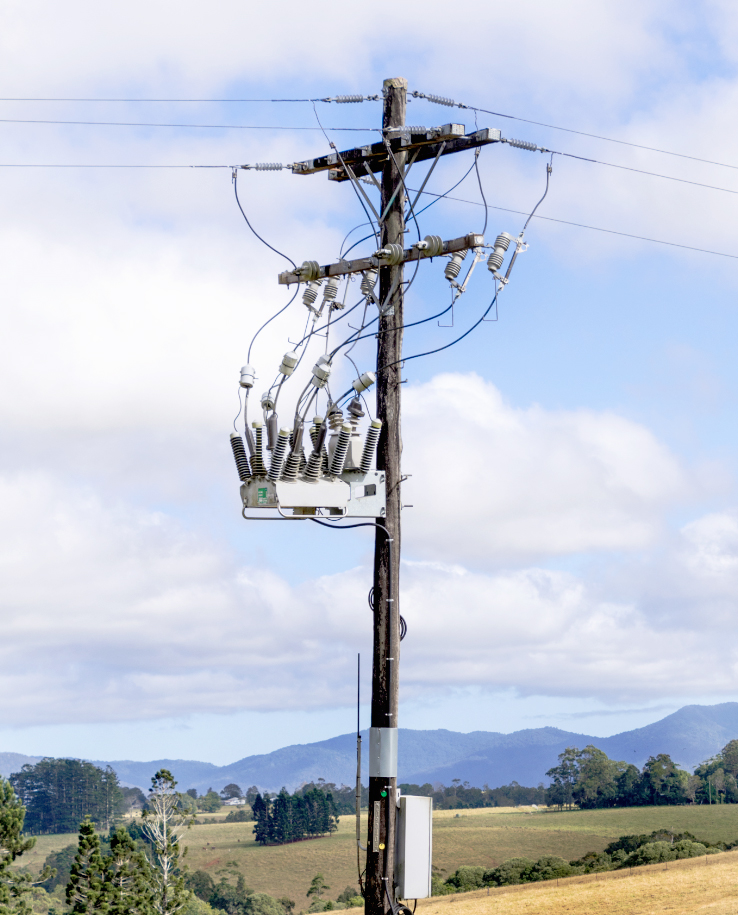 A NOJA Power OSM Recloser, with inline disconnectors for a Working Point of Isolation during network maintenance – Installed in Australia