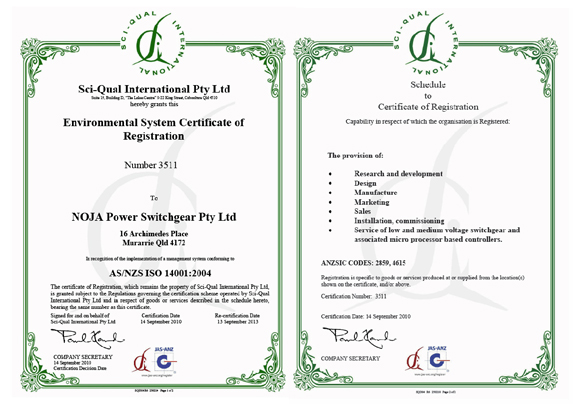 NOJA Power Accredited ISO14001