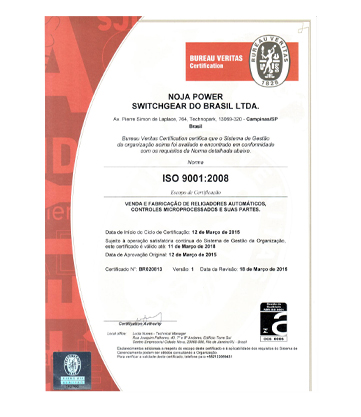 NOJA Power Brazil ISO9001:2008 certification