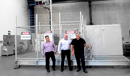 NOJA Power GMK (Right) commissioned in an Overhead to Underground Assembly.  Left to Right, Dean van Wijk (General Manager POWINS), Neil O'Sullivan (Group Managing Director NOJA Power), Julian Rauwendaal (Operations Manager QLD POWINS)