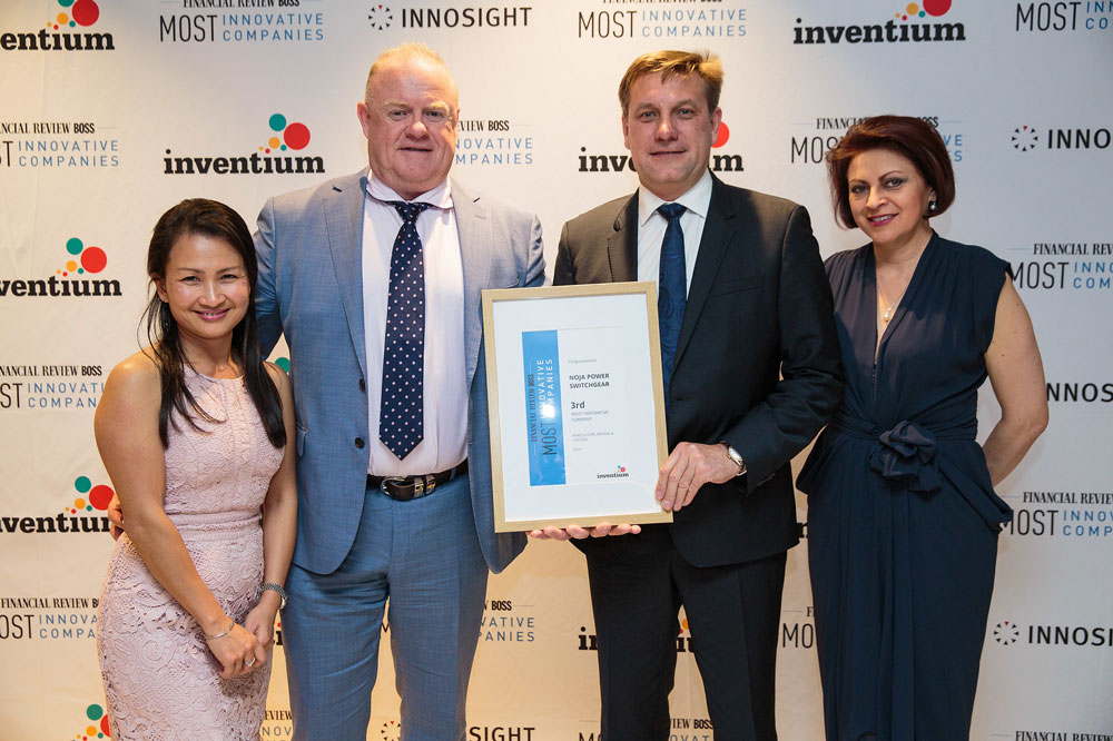 From left to right: Quynh Anh Le (Group Financial Director of NOJA Power), Neil O'Sullivan (Group Managing Director of NOJA Power), Oleg Samarski (Group Quality & Service Director of NOJA Power), Mrs Lana Samarski