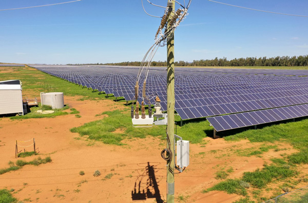 NOJA Power 2020, a NOJA Power OSM Recloser connecting the Narromine Solar Farm to the Distribution Grid, near Dubbo NSW Australia.