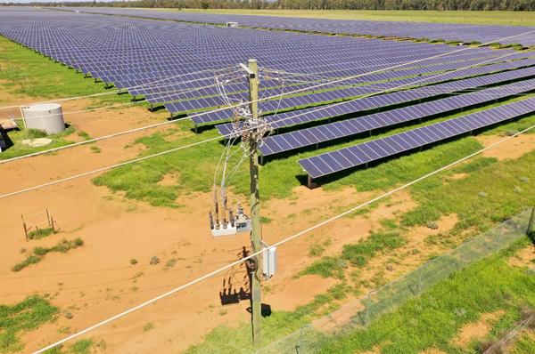 Reconectador OSM de NOJA Power como punto de conexión en una granja solar en Australia