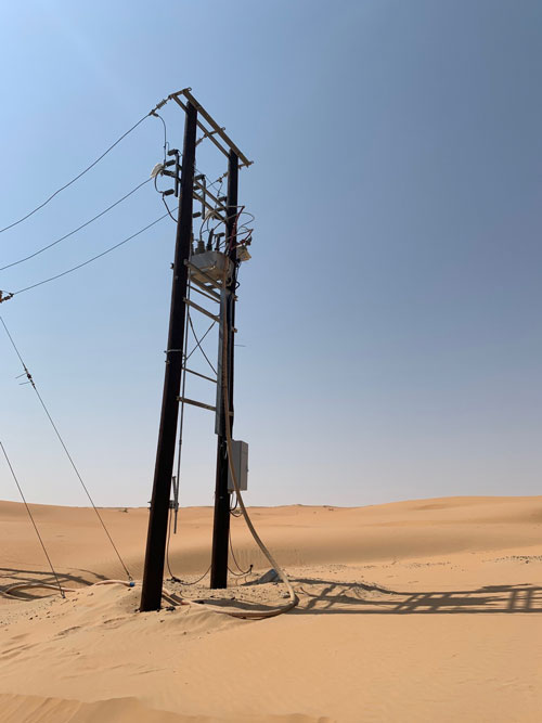 A NOJA Power OSM Recloser with RC10 Control in service in an Arabian Desert.