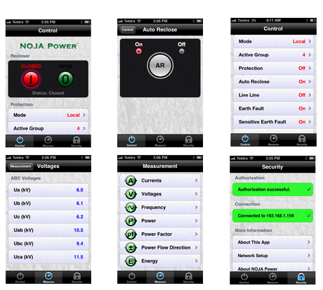 NOJA Power recloser app iphone ipad screenshot