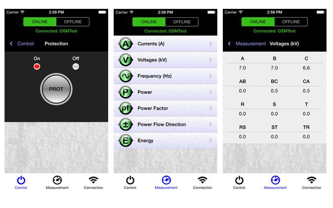 Screenshots of the Enhanced NOJA Power Recloser App
