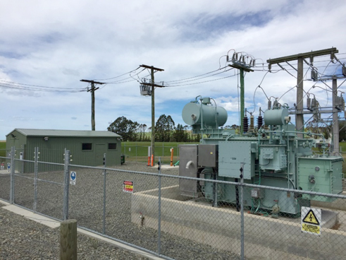 NOJA Power Recloser Installed in Network Waitaki Duntroon Substation (rear of substation)